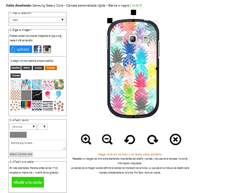 Samsung Galaxy Core Hülle selbst gestalten