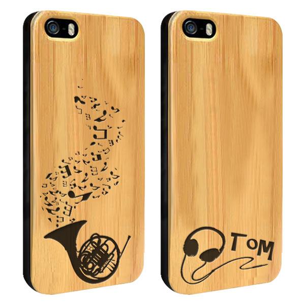 iPhone 5S Holzcase mit Icon und Text graviert